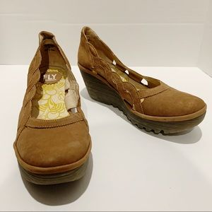 Fly London brown leather heel wedges size 39